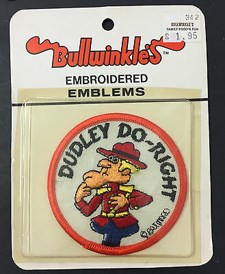 "Vintage Dudley Do Right Rocky & Bullwinkle Cloth Patch Pat Ward 3"" New"