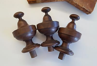 3 ANTIQUE TURNED WOOD POST FINIAL CAP END TOPPER Furniture Architectural 5 inche