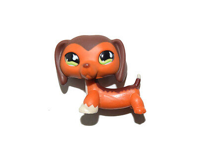 Littlest Pet Shop Green Eyes Chocolate Brown Dachshund Dog Figure Child Toy