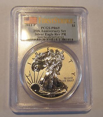 2011 P Silver Eagle Reverse Proof First Strike Pr69 25Th Anniversary Set