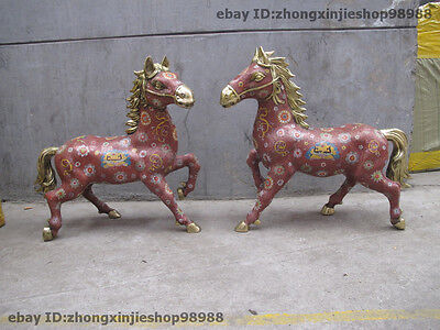 China Royal 100%  Copper Bronze cloisonne Ename Lion- Face Fly Horse Statue pair