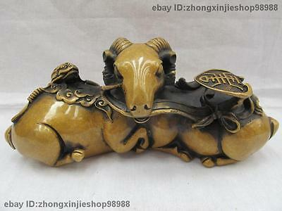 Chinese Folk FengShui Pure Bronze Carved Toad RuYi wealth goat Sheep Hold Statue