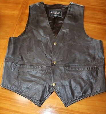 Men's Wilsons Leather Dk Brown Leather Motorcycle Vest Size L