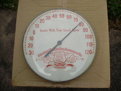"""Vintage Round Advertising Wall Thermometer ATLANTIC MUTUAL FIRE INSURANCE CO 12"""""""