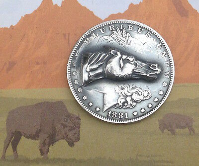 """1881 """"O"""" Morgan Silver Dollar Repousse Coin -- Stallion - pop punched out coin"""