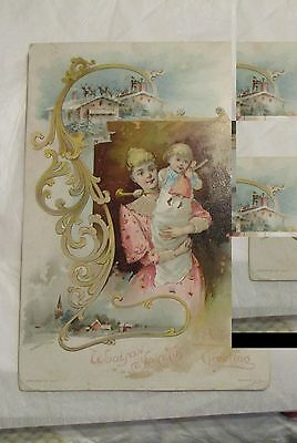 1890  Victorian Holiday TRADE CARD Lion Coffee Mother Child Woolson Toleldo OH