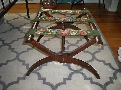 Antique Wooden ~Mahogany/Cherry~ Luggage Rack with Needlepoint Straps  ~ NICE