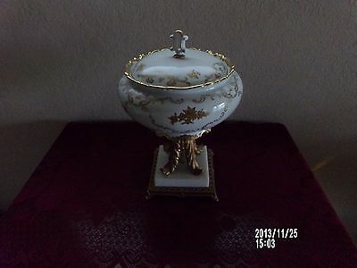 European Style Compote Bowl With Gold Gilt On A Gold Toned Metal Marble Base