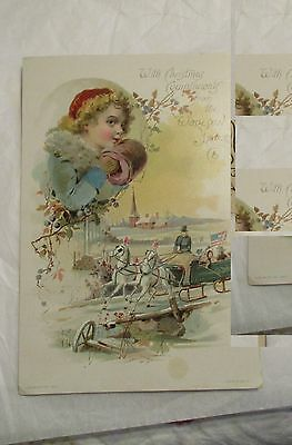 Vtg 1890 CHRISTMAS Victorian Trade Card Lion Coffee Woolson Spice Toledo OH
