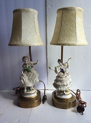 Pair Antique Germany VOLKSTEDT Porcelain Lace Ballerina Figurines W/ Brass Lamps
