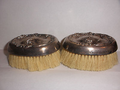Pair of Antique sterling silver  Mauser brush vanity victorian repousse cherub