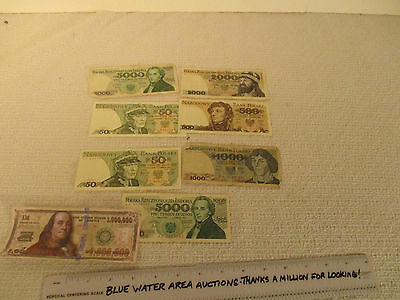 (7) Polish Poland Currency Notes, 1979 - 1988, 50, 500, 1000, 2000, 5000 Zlotych