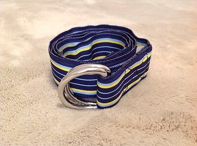 Women's J. Crew Blue And Yellow Adjustable Belt, Size L/XL, Made In USA