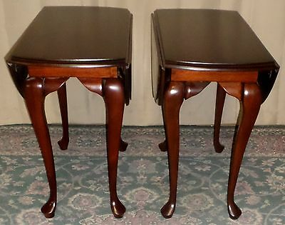 CHERRY DROP LEAF TABLES Queen Anne Style End, Side Tables PAIR VINTAGE