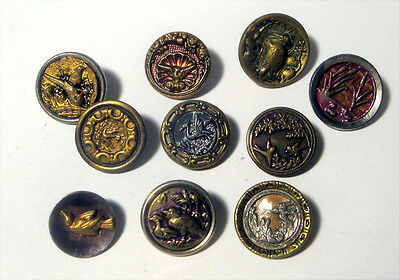Lot 10 Antique Metal Buttons BIRD Variety  ~ Victorian Tinted Layered ++ ~