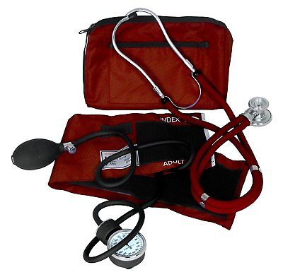 Dixie Ems Professional Blood Pressure Kit W/ Sprague Stethoscope Burgundy