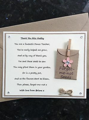 Personalised Thank You Dance Teacher Poem Gift Magnet. Forget-me-not Seeds