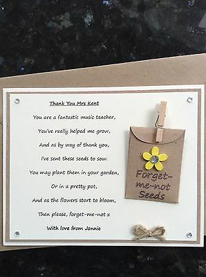 Personalised Thank You Music Teacher  Poem Gift Magnet. Forget-me-not Seeds