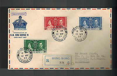 1937 Hong Kong First Day Cover FDC to Australia KGVI Coronation