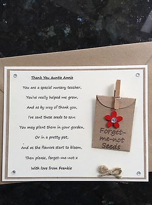 Personalised Thank You Nursery Teacher Poem Gift Magnet. Forget-me-not Seeds