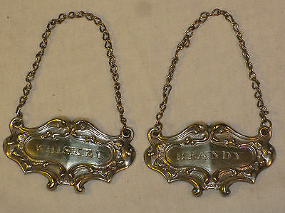 Vintage Silver Plated Whiskey Brandy Spirit Labels