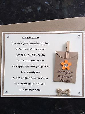 Personalised Thank You Pre-school Teacher Poem Gift Magnet. Forget-me-not Seeds