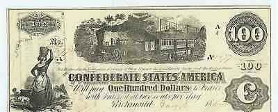 1862 $100.00  CONFEDERATE STATES CURRENCY BILL with train Richmond Va #1