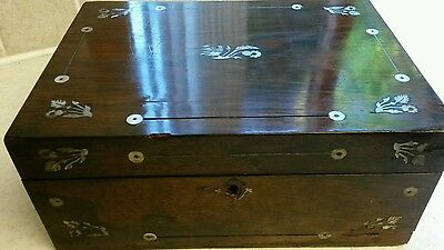 Antique Rosewood & Mother Of Pearl Box For Restoration
