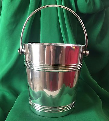 Vintage Signed Christofle France Gallia Art Deco Modernist Ice Bucket W Liner
