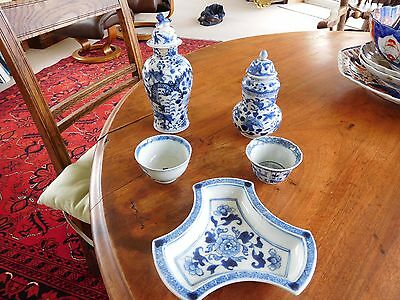 5 Antique Chinese blue and white pieces Character marks 18/19th century