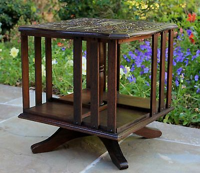 Antique English Mahogany Arts & Crafts Desktop Revolving Bookcase Book Holder