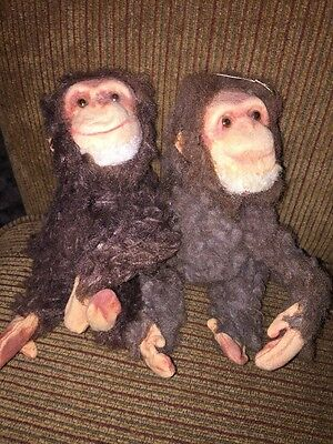 """VTG Set Of (2) Fuzzy Felt & Wire POSABLE Monkey, Tail Moves Head /""""YES-NO""""~Japan"""