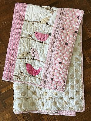 Pottery Barn Kids Crib Quilt Birds Baby Girl Nursery Pink Brown Blanket Lovey