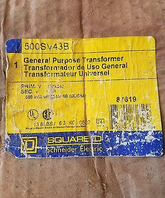 SQUARE D 500SV43B GENERAL PURPOSE TRANSFORMER buck boost new old stock