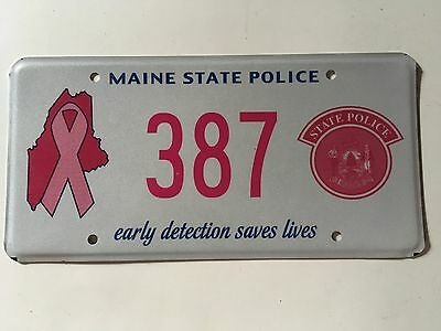 2013 Maine State Police License Plate Breast Cancer Awareness Early Detection