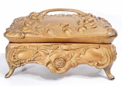 Large Antique Art Nouveau Metal Jewelry Casket with Red Lining