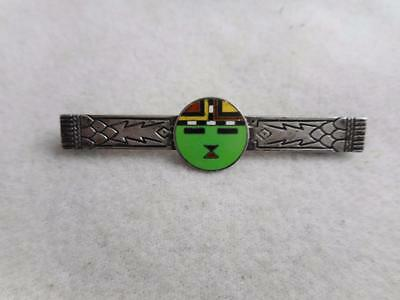Unique Antique Arts & Craft Deco Stamped Pin W/ Enamel Inlay Face - Odd Mark