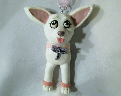 WHITE CHIHUAHUA PENDANT Ornament OOAK polymer clay chain necklace art dog