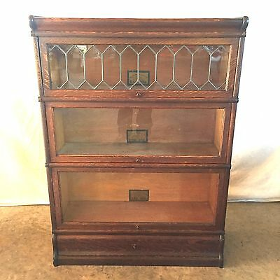 Antique Globe Wernicke Oak 3-Section Stacking Bookcase Leaded Glass with Drawer