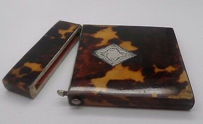Antique Victorian Faux T/Shell & Silver  Card Case  Circa 1860-1880 No Reserve