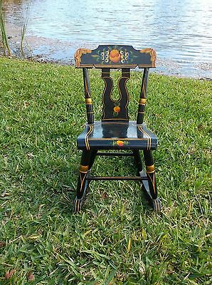 Antique Hitchcock Style Vintage Stenciled Child's/doll Rocking Chair
