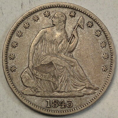 1843 Seated Liberty Half Dollar, Extremely Fine, Nice Type Coin     0707-25