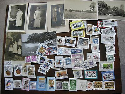 Mixed Lot Of Antique/vintage Postcards & Cancelled Stamps U.s. & International