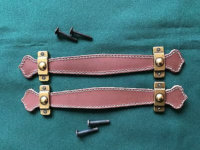 Antique Trunk Hardware * Leather Trunk Handles Set * Made in Italy