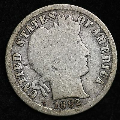 1892-S Barber Dime CHOICE G+ FREE SHIPPING E281 UHT