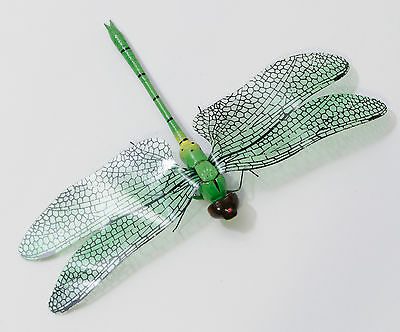 """Dragonfly Magnet, Wood with Plastic Wings, 3.5""""x5.5"""", Green"""