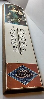"Pepsi Cola Vintage Wooden Sign with Thermometer 18"" X 4.7"""
