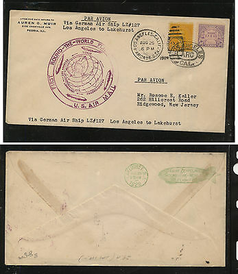 US  570  Graf Zeppelin flight cover Los Angles to Lakehurst  1929     FUS0106