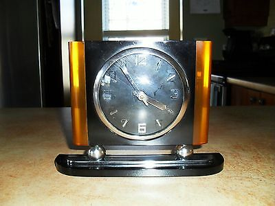 Small Sparkling Art Deco Table Clock Black / Yellow Catalin With Chrome It Works