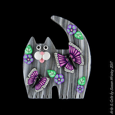 Medium Standing Gray Tabby Kitty Cat, Flowers & Butterflies Pin - SWris